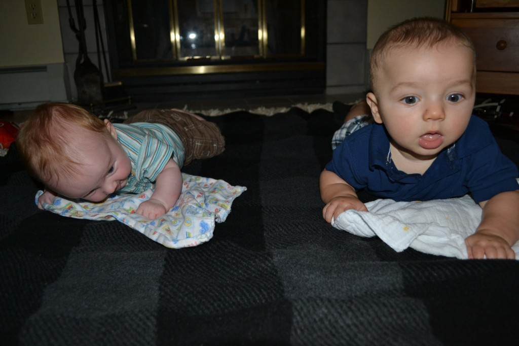 Babies doing tummy time together