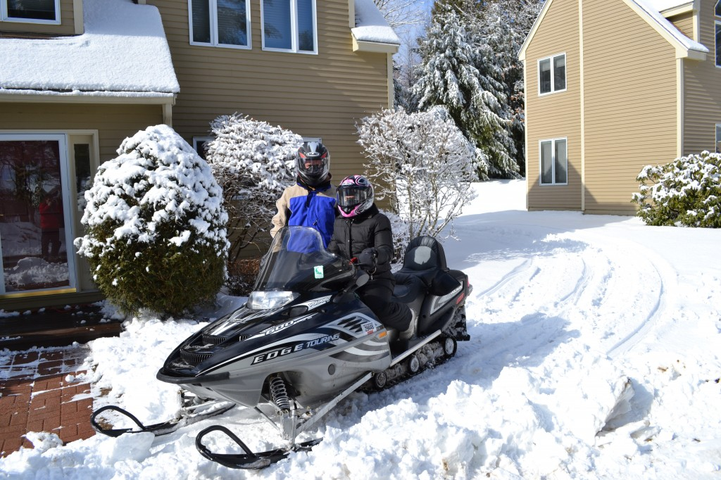 Snowmobiling in New Hampshire with My Husband.