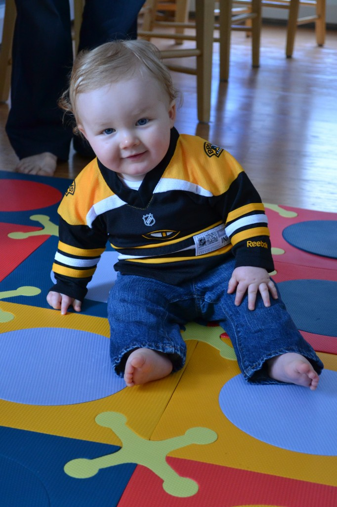 Baby Playing in Bruins Jersey