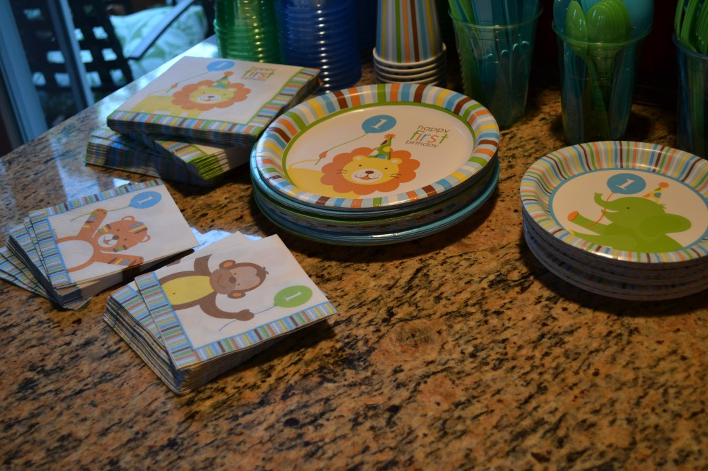 Plates and napkins for first birthday party