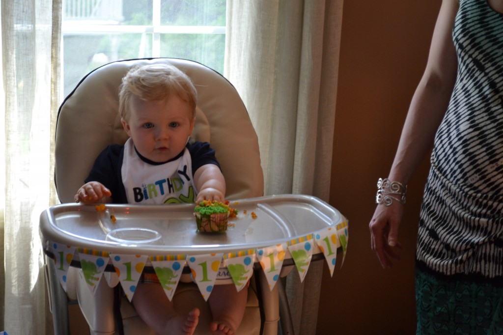 Baby Boy Eating Cupcake