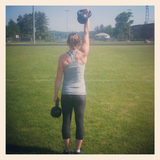Working out at the track with kettlebells