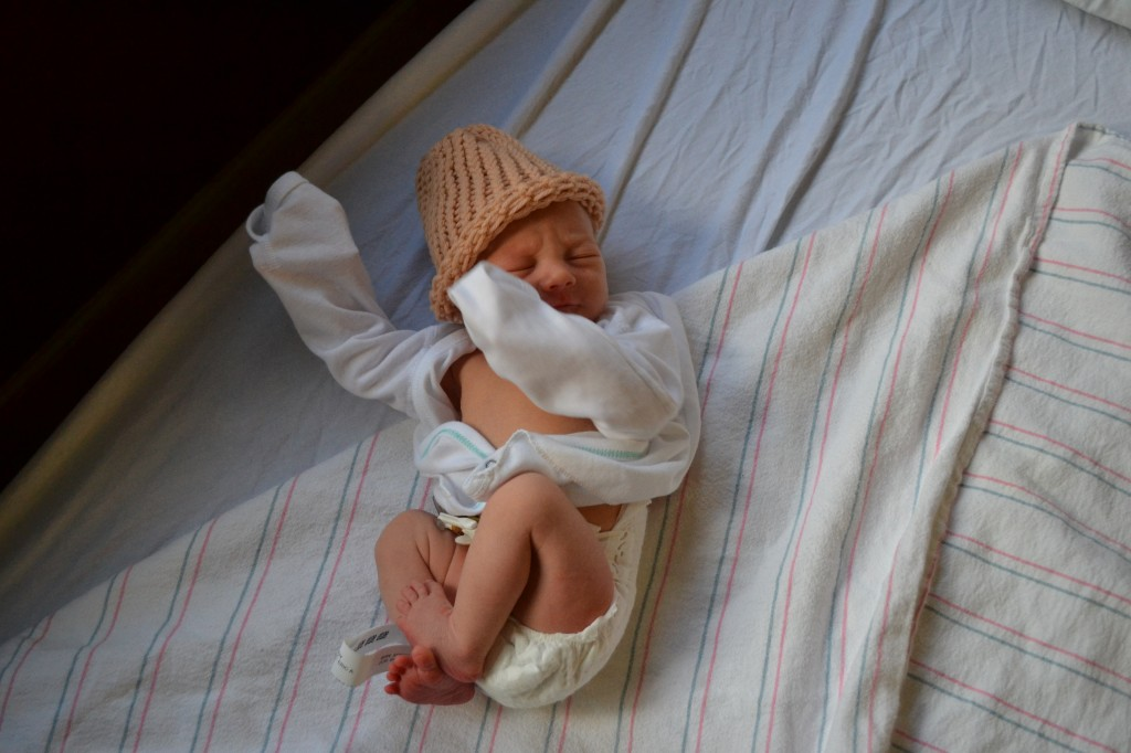 Newborn Baby Boy in Hospital Hat