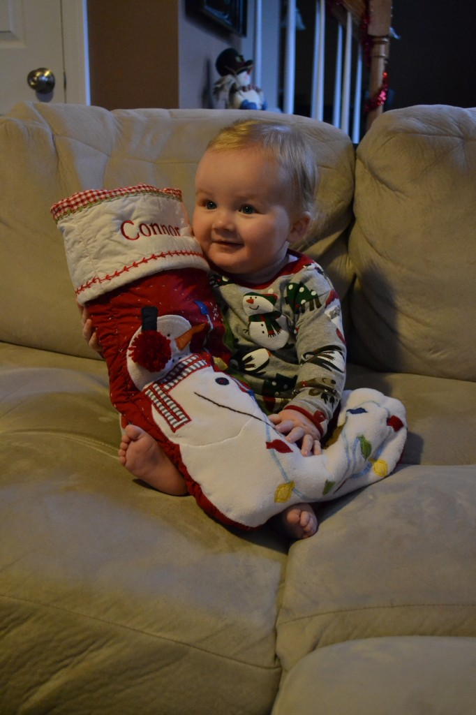 Baby with Stocking at Christmas