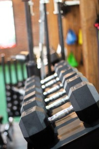 Dumbbells at gym in Chelmsford MA