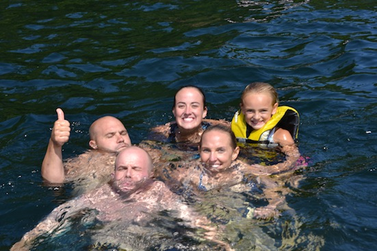 Friends Swimming at Lake Winnipesaukee