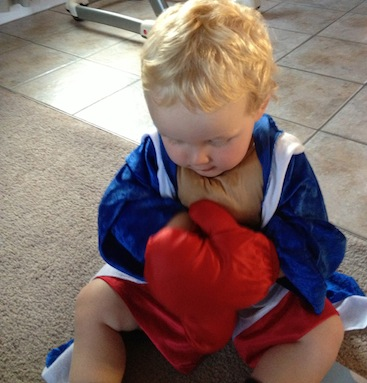 Toddler Boxing Costume with Red Gloves